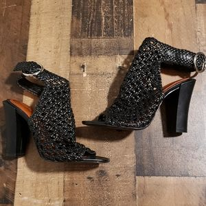 38 Zara Woman Black Cutout Blocky Heels